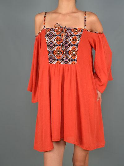 Rust Open Shoulder Dress